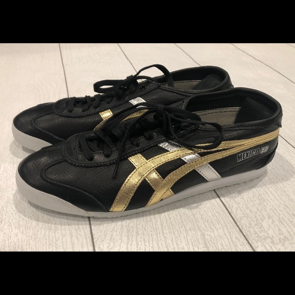 brand new d97be cddbf Ontisuka Tiger ASICS Mexico 66 Black Gold Shoes